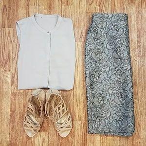 Ann Taylor Textured Sparkle Pencil Skirt Size 2